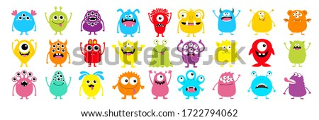 Happy Halloween. Monster colorful silhouette super big icon set. Cute kawaii cartoon scary funny baby character. Eyes, tongue, tooth fang, hands up. Flat design. White background. Vector illustration