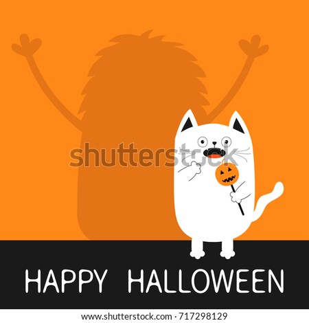 Happy Halloween. Monster silhouette wall shadow hands up. Spooky frightened white cat holding pumpkin face on stick. Open mouth. Funny Cute cartoon baby character. Flat design Orange background Vector #717298129