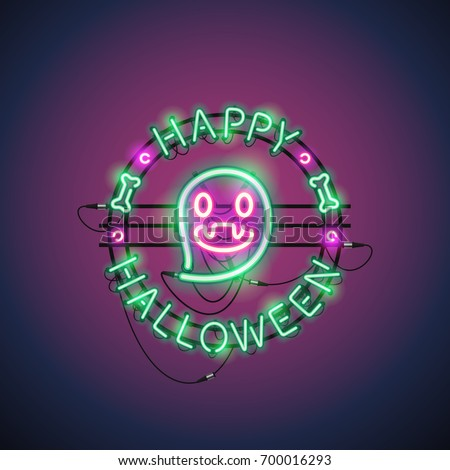Happy Halloween neon sign with funny ghost makes it quick and easy to customize your holiday projects. Used neon vector brushes included.