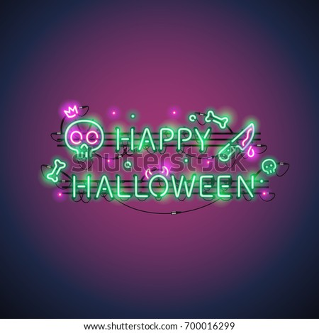 happy halloween neon sign with