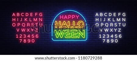 Happy Halloween neon text vector design template. Halloween neon logo, light banner design element colorful modern design trend, night bright advertising, bright sign. Vector. Editing text neon sign