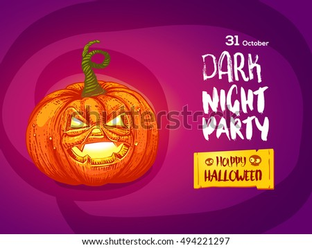 Happy Halloween night party invitation flayer. Vector illustration. Cartoon styled jack pumpkin with typography. #494221297