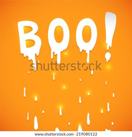 Happy Halloween orange background with text Boo, vector.