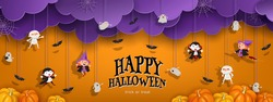 Happy Halloween orange banner trick or treat with purple clouds, witch, vampire, ghost, bats, pumpkin in paper cut style. Party invitation background with text. Vector illustration