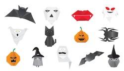 Happy halloween origami vector set.