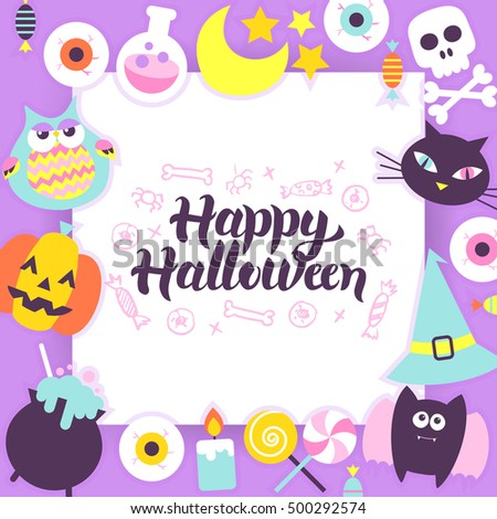 Happy Halloween Paper Template. Vector Illustration Flat Trick or Treat Concept with Lettering.