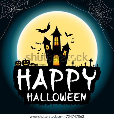 happy halloween party banner or greeting card halloween night background with full moon spider