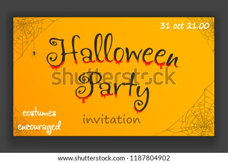 Happy halloween party decoration corner hanging spider web invitation design vector illustration - Shutterstock ID 1187804902