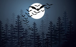 Happy halloween party. Flying bats. Flat vector sign on 31 october fest. Horror, bat, creepy, hallow, zombie, monster, spooky, vampire, witch or moon pictogram. Silhouettes of flying bats swarm.