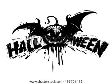 Halloween Vector Black And White.Free Flat Halloween Pumpkin Vector Illustration Download Free