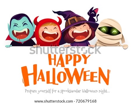 Happy Halloween Party. Group of kids in halloween costume with big signboard. White background.
