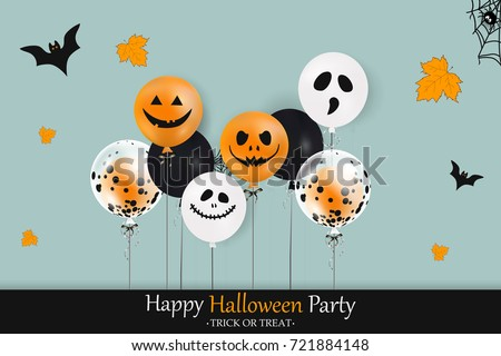 Happy Halloween Party. Holiday concept with halloween color balloons, falling leaves, halloween spider web, halloween bat  for banner, poster, greeting card, party invitation. vector illustration.