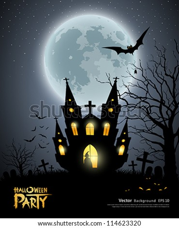 Happy Halloween party house scary background, vector illustration