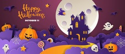 Happy Halloween party invitation with haunted house, pumpkins, ghosts, candy, bats in paper cut style on violet background. Vector illustration.