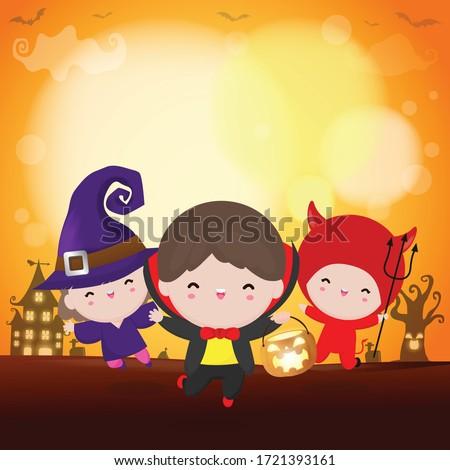 Happy Halloween Party Kids Costume. Group of children in Halloween cosplay. Template for advertising brochure. Happy Halloween party poster and template design bokeh background Vector Illustration