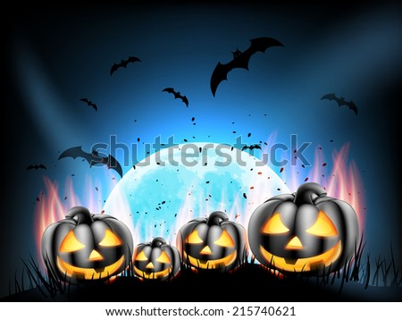 Happy Halloween party Poster with Pumpkins on fire in the Grass. EPS 10 vector file included #215740621