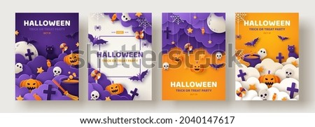Happy Halloween party posters set with night clouds and pumpkins in paper cut style. Vector illustration. Full moon, witch cauldron, spiders web and flying bat. Place for text. Brochure background Сток-фото ©