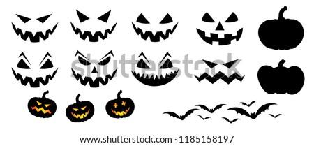 Happy halloween party pumpkins face Vector eps Pumpkins icons Emotion variation Smiley smile emoticons faces emoji doodle funny fun logo 31 october fest flying bats animals emoticon pumpkin Grung