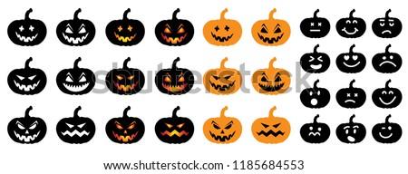 Happy halloween party pumpkins face Vector eps Pumpkins icons Emotion variation Smiley smile emoticons faces emoji doodle funny fun logo 31 october fest flying bats animals emoticon pumpkins Grung