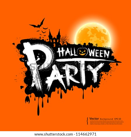 Happy Halloween party text design on orange background, vector illustration