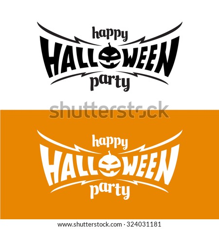 Happy halloween party title logo template. Bat wings shape with evil pumpkin.