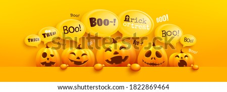 Happy Halloween poster and banner template with cute halloween pumpkin and yellow bubble message on top. Website spooky,Background or banner Halloween template.