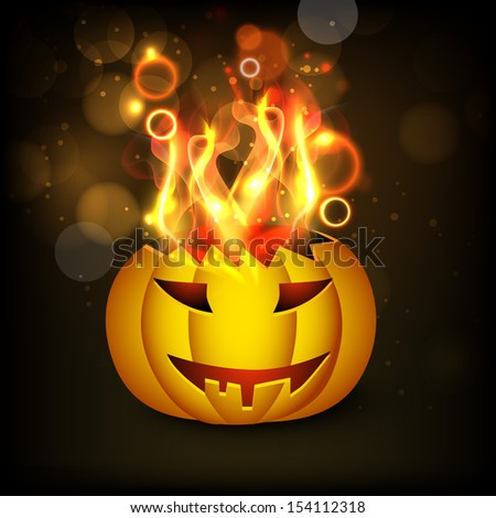 Happy Halloween poster, banner or flyer with spider web on grey background.  #154112318
