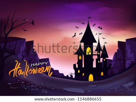 Happy halloween poster, fantasy concept horror story abstract background vector illustration