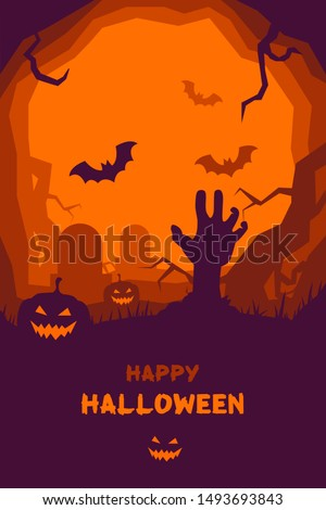 Happy Halloween poster of pumpkin and zombie hand on graveyard, full moon dark night and tombstone, zombie skeleton skull and black bat. trick or treat Halloween holiday greeting card