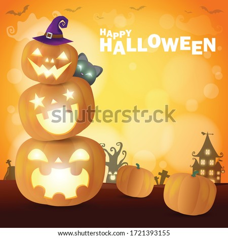 Happy Halloween Poster Party  pumpkin patch in the moonlight bokeh. Jack O Lantern party. trick or Treating background, Template for advertising brochure Vector Illustration.