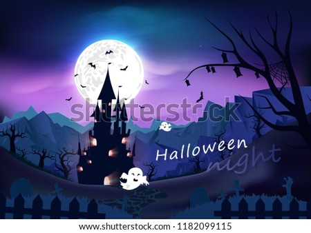 Happy halloween poster, spooky, fantasy and cartoon concept horror story, night scene abstract background vector illustration