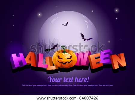Happy Halloween poster template.  All elements are layered separately in vector file. EPS10