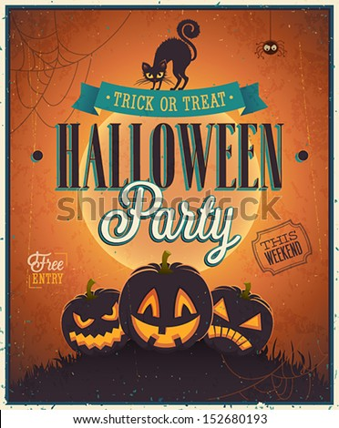Shutterstock Happy Halloween Poster. Vector illustration.