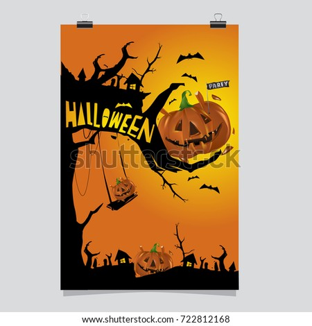 Happy Halloween Poster. Vector illustration halloween Party.