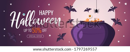 Happy Halloween promo sale flyer with Halloween elements. Cauldron with brewing potion, flying bats, spider. Starry night and full moon. Vector illustration for poster, banner, special offer.