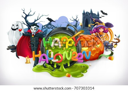 Happy Halloween. Pumpkin, cat, witch, vampire and lettering, 3d vector emblem