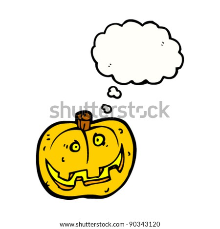happy halloween pumpkin with thought bubble cartoon