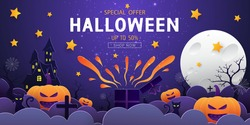 Happy Halloween sale banner background with night clouds, pumpkins, cat, haunted house, gift box, tree, tomb, star, spiders web and full moon in paper cut style. Vector illustration.