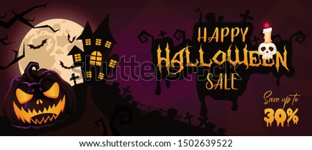 Happy Halloween sale banner cartoon template. Autumn holiday special offer and discounts, seasonal clearance horizontal poster layout. Scary background with pumpkin. Helloween 30 percent price off
