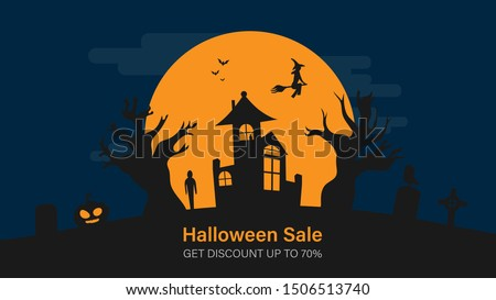 Happy halloween sale banner for website. Halloween holiday event. Flash sale on halloween. Halloween vector illustration