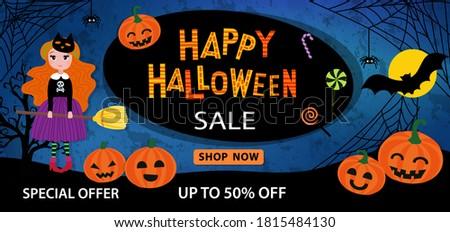 happy halloween sale banner or