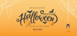 Happy Halloween sale banners or party invitation background.Vector illustration .calligraphy of