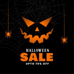 happy halloween sale black background with spiders and ghost face