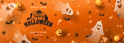 Happy Halloween sale horizontal banner. Holiday promo banner with spooky flying ghosts, black spiders and bats, scary pumpkins, serpentine and confetti on orange background. Vector illustration.