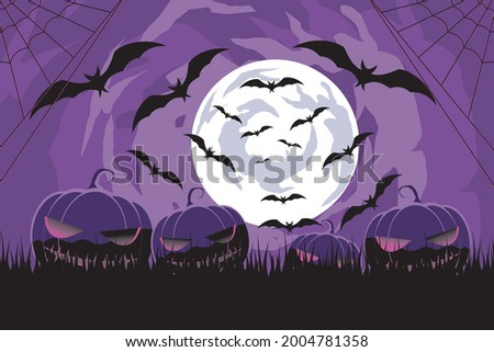 Happy Halloween. scary night with scary bats, scary pumpkins and moonlight at night  Foto stock ©