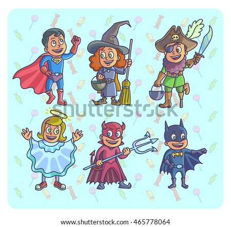 happy halloween set of cartoon