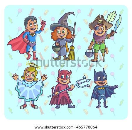 happy halloween set of cartoon