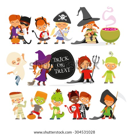 happy halloween set of cute