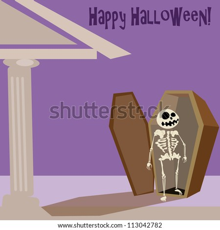 Happy Halloween. Skeleton. Crypt