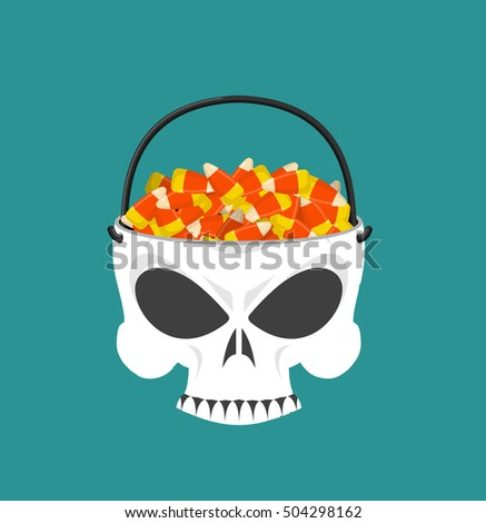 happy halloween skull basket